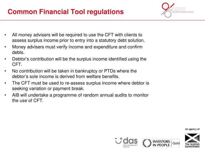 Common financial tool regulations
