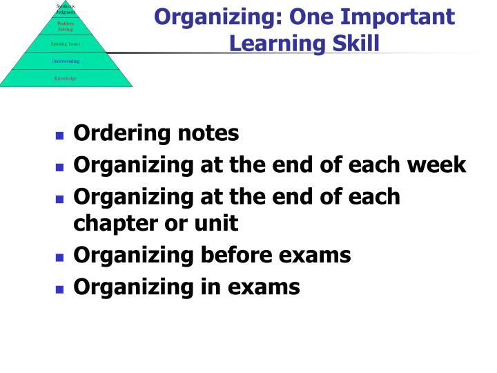 Organizing: One Important Learning Skill