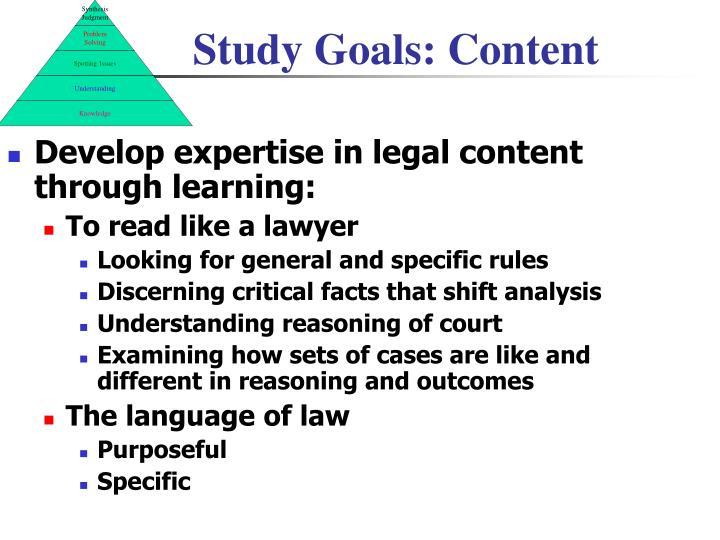 Study Goals: Content