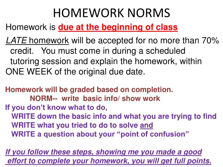 HOMEWORK NORMS