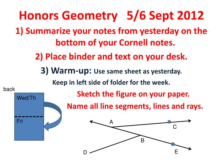 Honors geometry 5 6 sept 2012