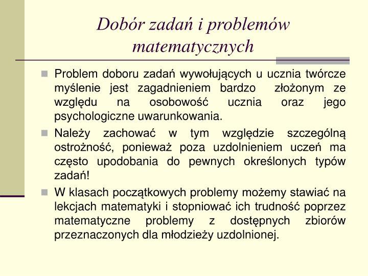 Dobór zadań i problemów matematycznych