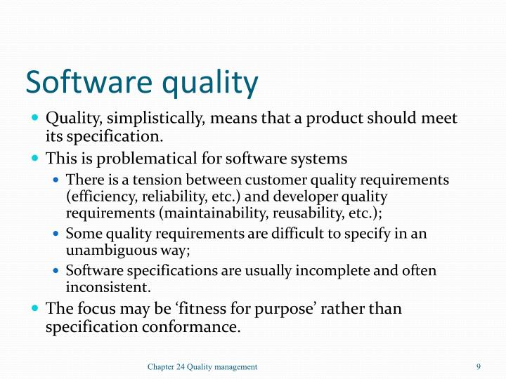 Software quality