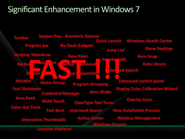 Significant Enhancement in Windows 7