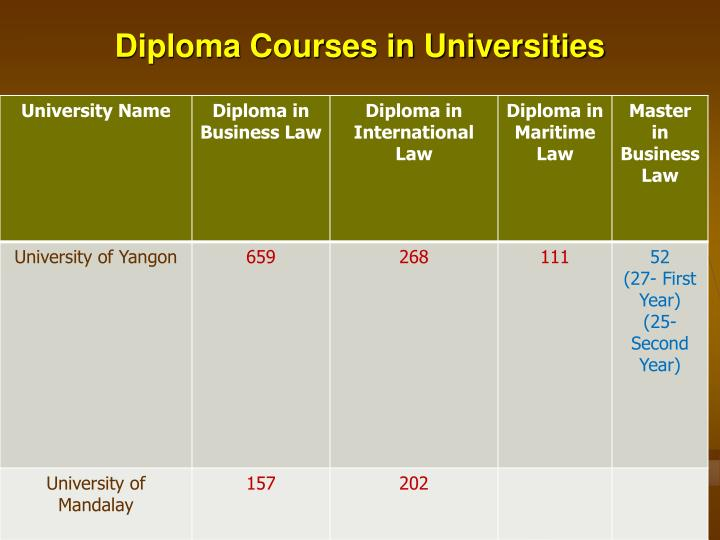 Diploma Courses in Universities