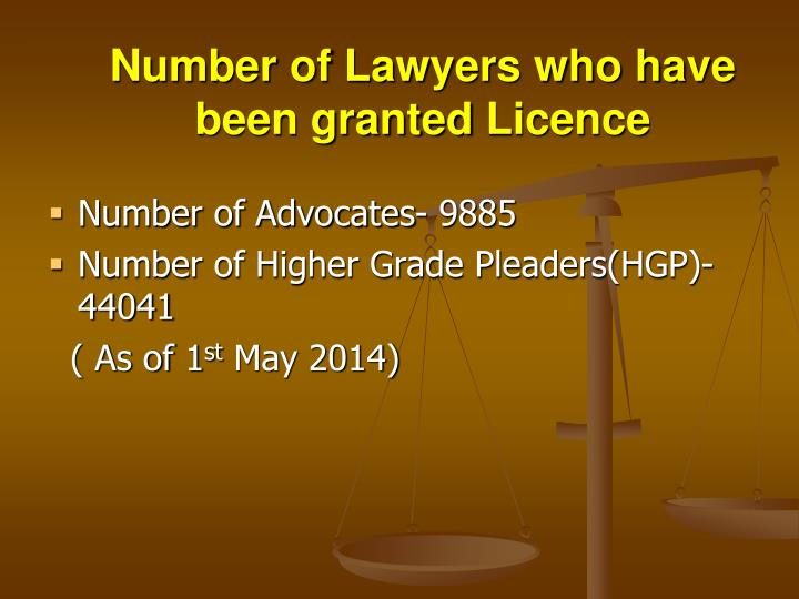 Number of Lawyers who have been granted