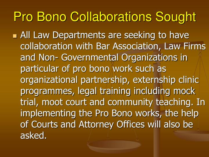 Pro Bono Collaborations Sought
