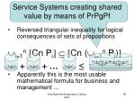 service systems creating shared value by means of prpgpf
