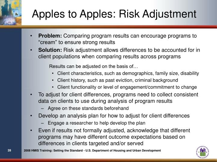 Apples to Apples: Risk Adjustment