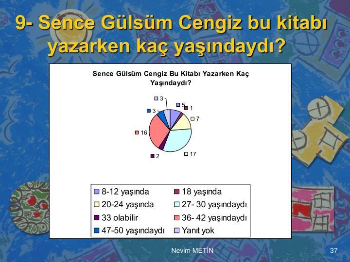 9- Sence Gülsüm Cengiz bu kitabı yazarken kaç yaşındaydı?