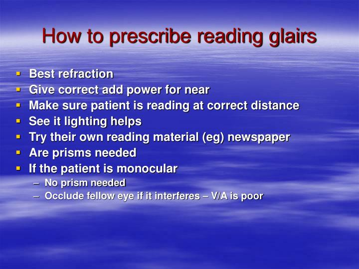 How to prescribe reading glairs