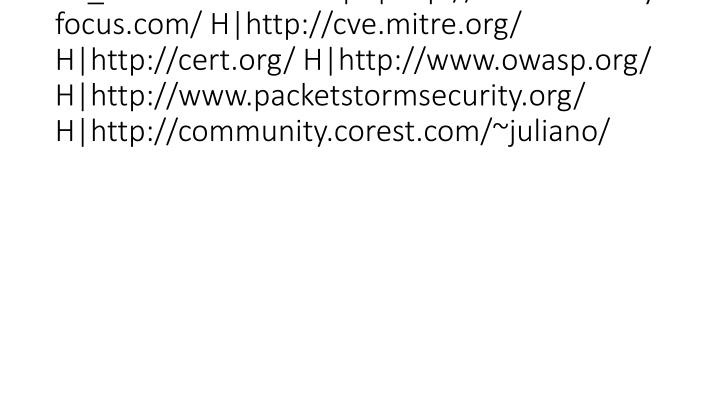 vti_cachedlinkinfo:VX|H|http://www.securityfocus.com/ H|http://cve.mitre.org/ H|http://cert.org/ H|http://www.owasp.org/ H|http://www.packetstormsecurity.org/ H|http://community.corest.com/~juliano/