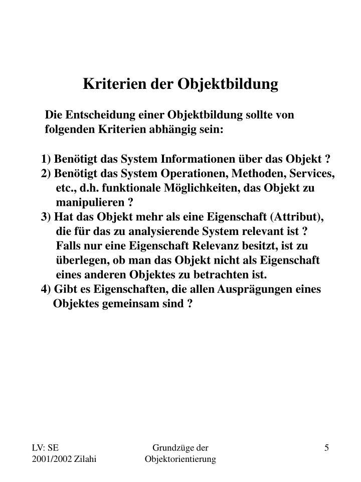 Kriterien der Objektbildung