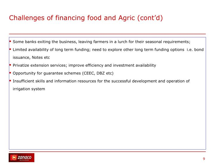Challenges of financing food and Agric (cont'd)