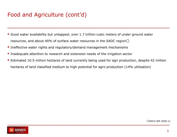 Food and Agriculture (cont'd)