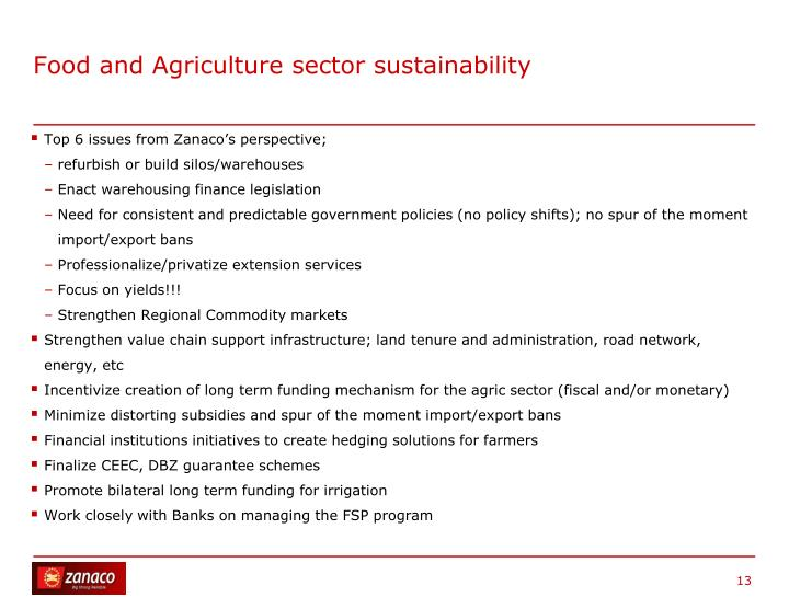 Food and Agriculture sector sustainability