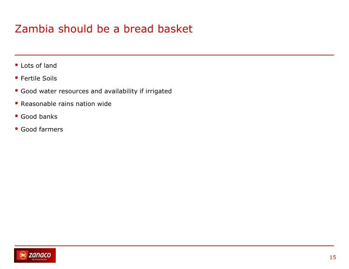 Zambia should be a bread basket