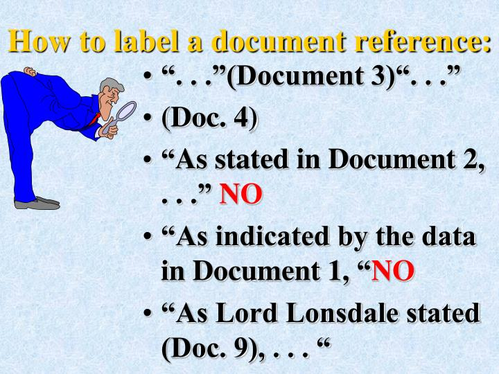 How to label a document reference: