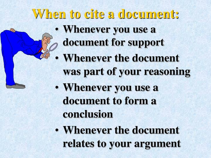 When to cite a document: