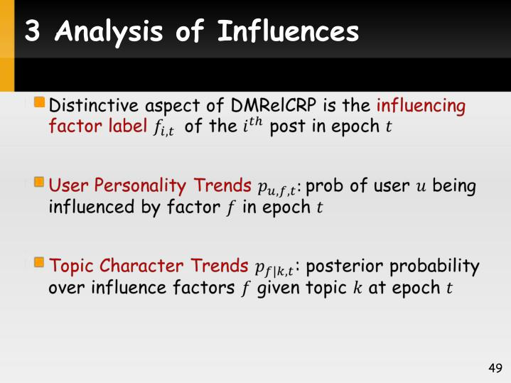 3 Analysis of Influences