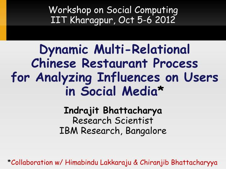 Workshop on Social Computing
