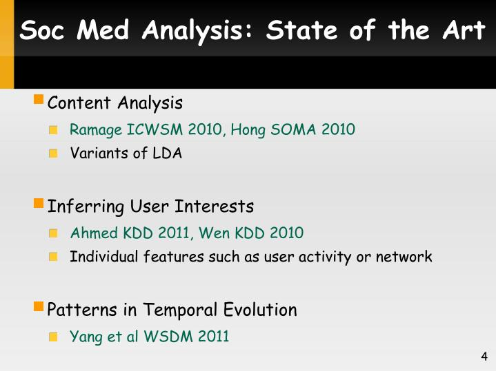 Soc Med Analysis: State of the Art
