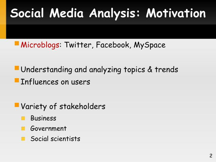Social Media Analysis: Motivation