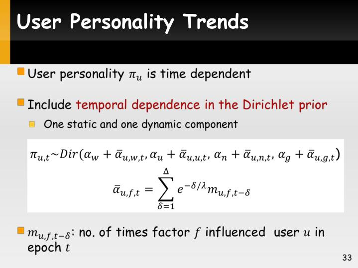 User Personality Trends