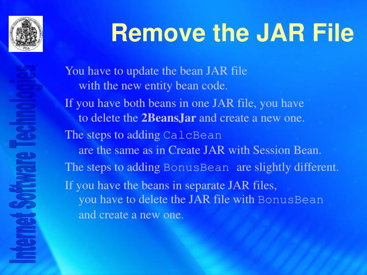 You have to update the bean JAR file