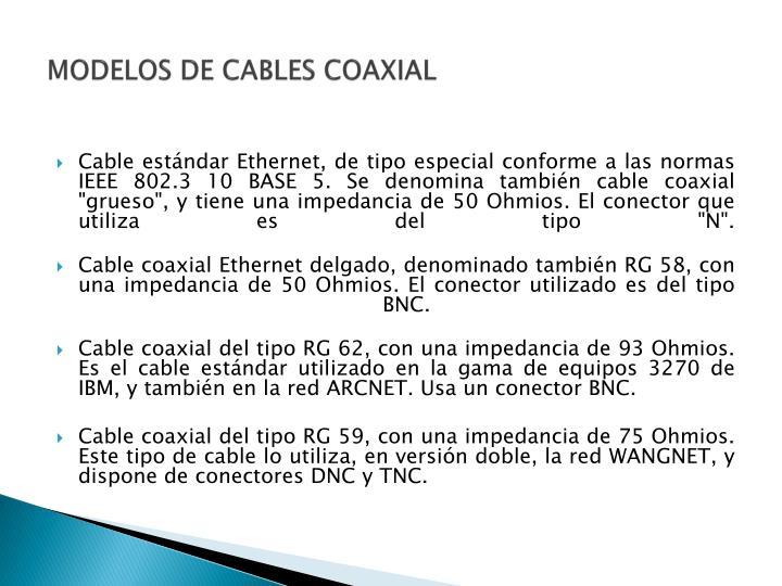 MODELOS DE CABLES COAXIAL