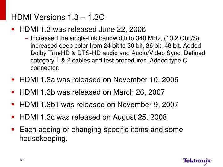 HDMI Versions 1.3 – 1.3C