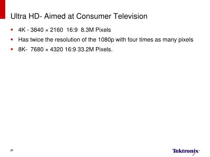 Ultra HD- Aimed at Consumer Television