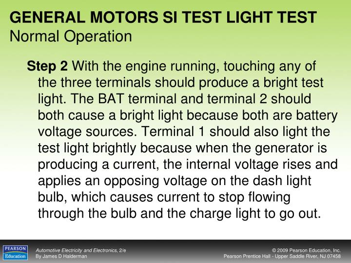 GENERAL MOTORS SI TEST LIGHT TEST