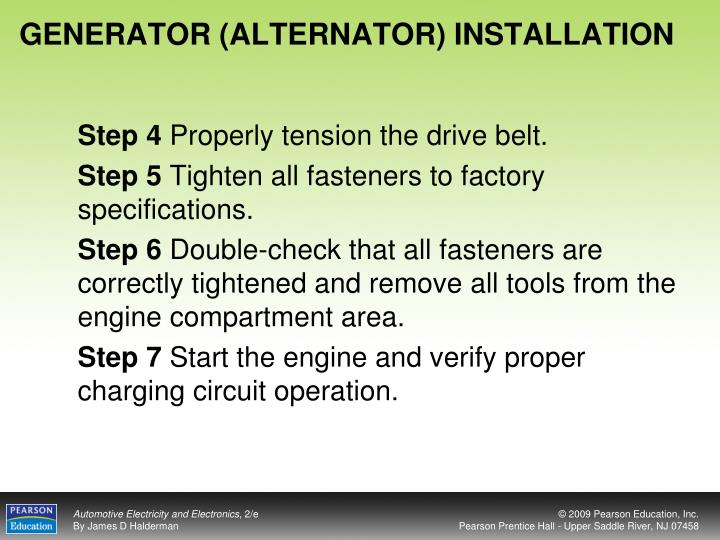 GENERATOR (ALTERNATOR) INSTALLATION