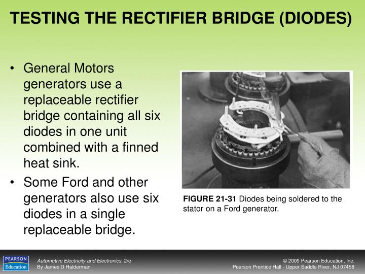 TESTING THE RECTIFIER BRIDGE (DIODES)