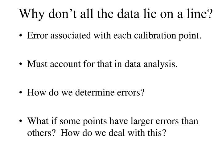 Why don't all the data lie on a line?