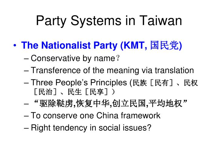 Party Systems in Taiwan