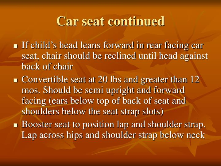Car seat continued
