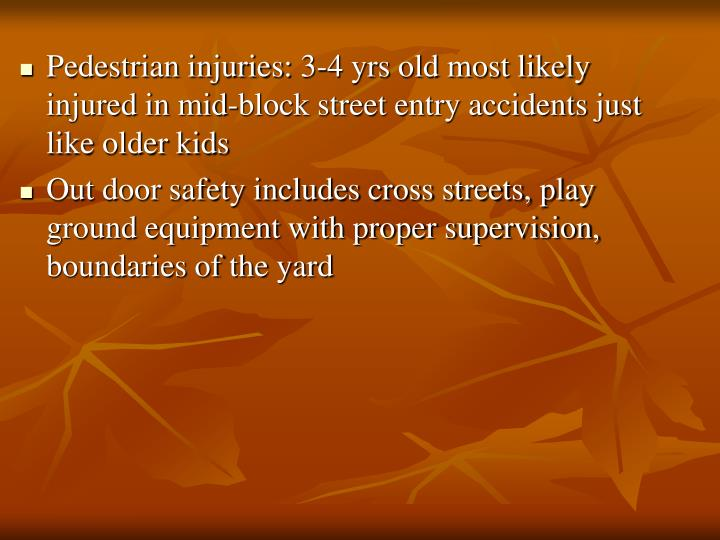 Pedestrian injuries: 3-4 yrs old most likely injured in mid-block street entry accidents just like older kids