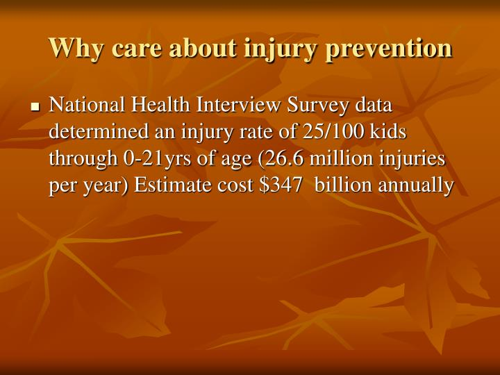 Why care about injury prevention
