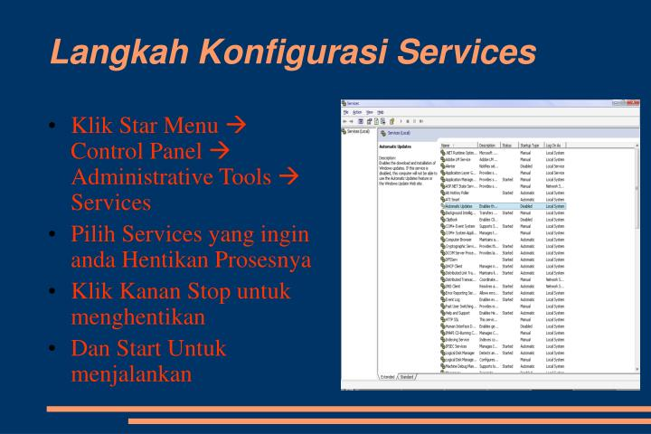 Langkah Konfigurasi Services