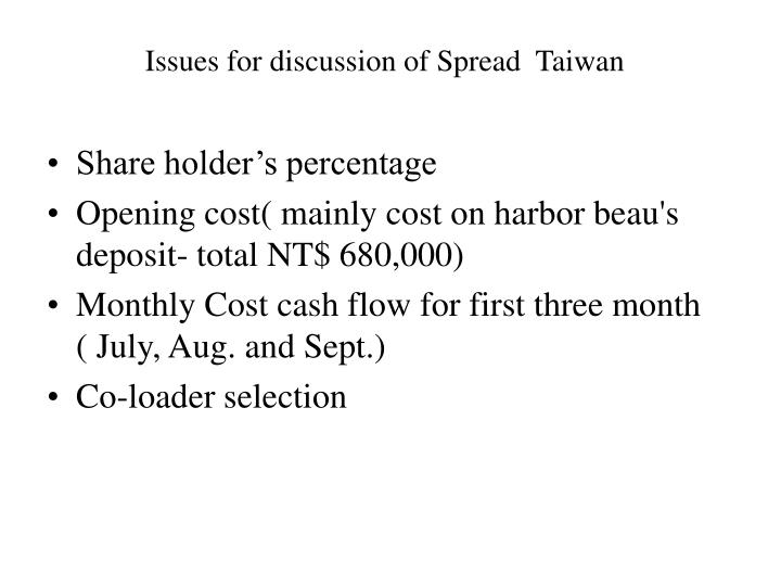 Issues for discussion of Spread  Taiwan