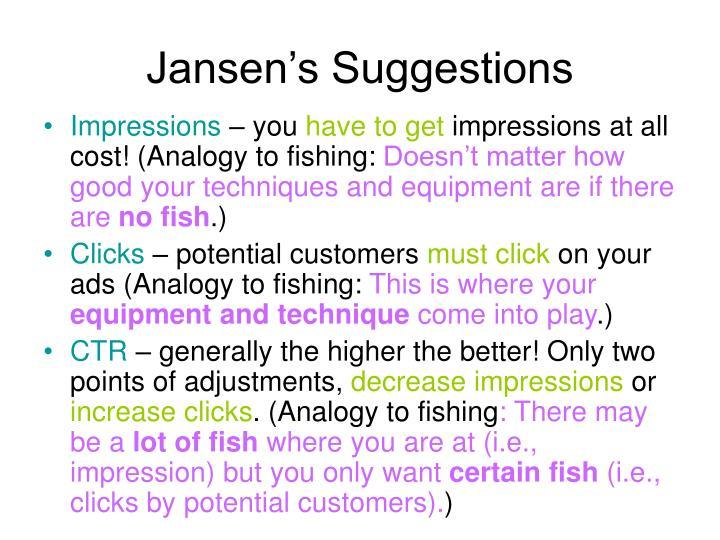 Jansen's Suggestions