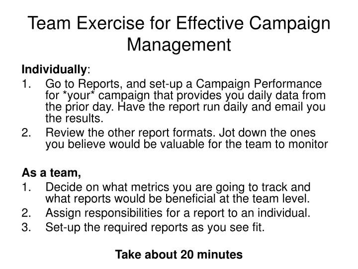 Team Exercise for Effective Campaign Management