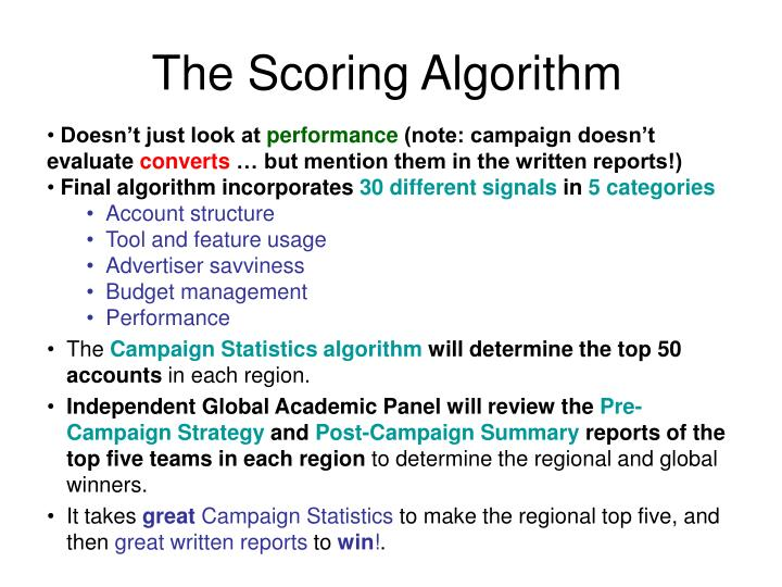 The Scoring Algorithm