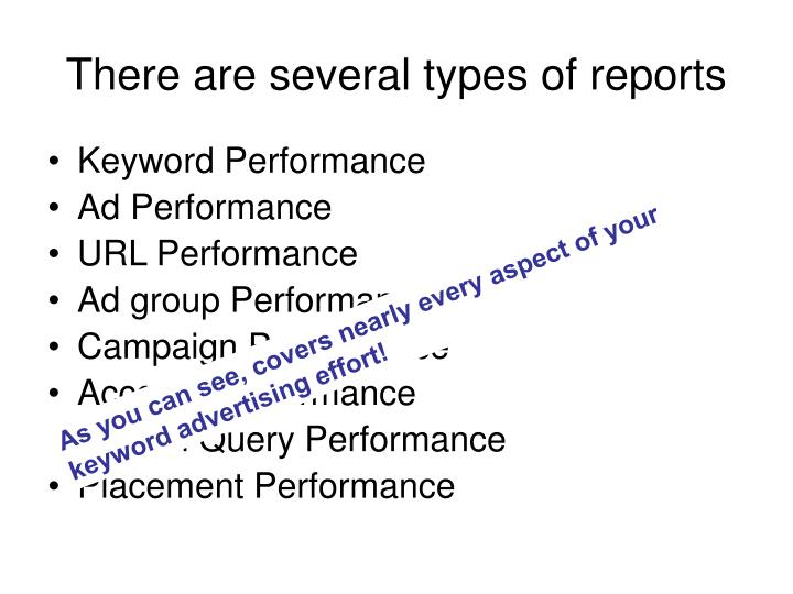 There are several types of reports