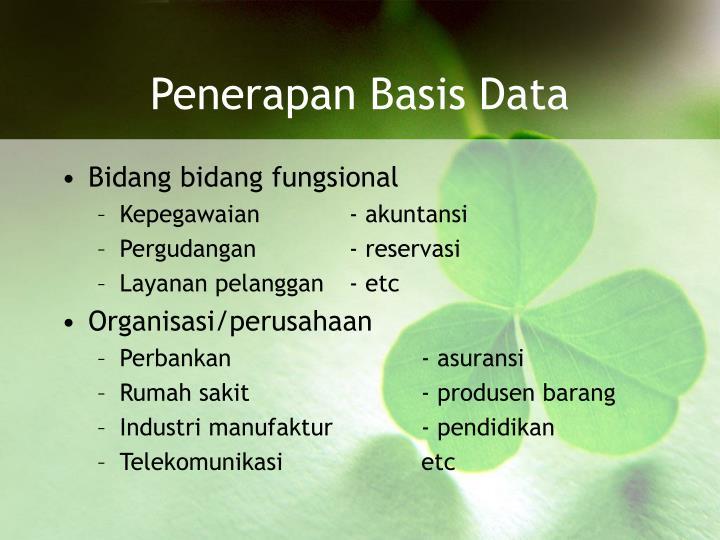 Penerapan Basis Data