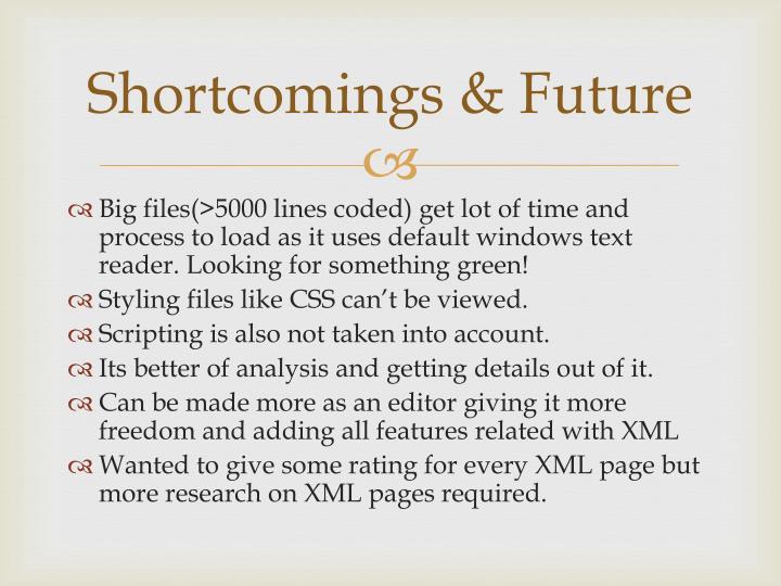 Shortcomings & Future