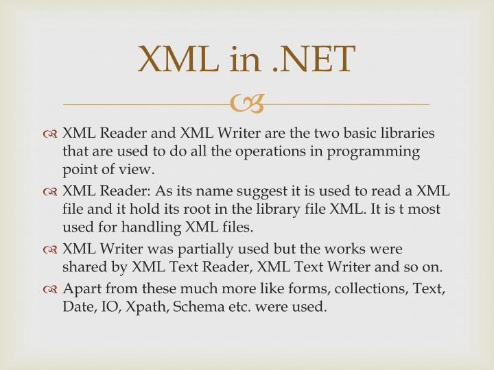 XML in .NET
