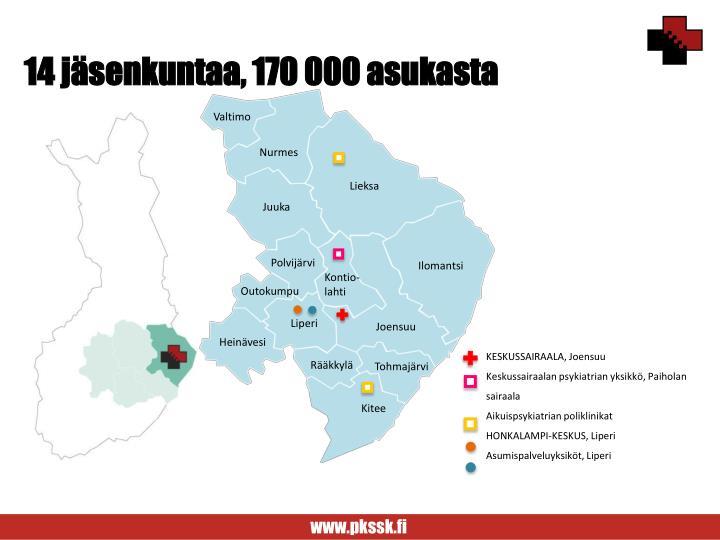 14 jäsenkuntaa, 170 000 asukasta